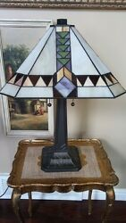 Tiffany Style Stained Slag Glass Mission Art Deco 2 Light Table Lamp VGC