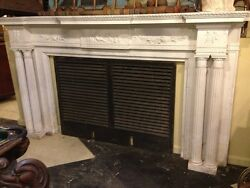 Spectacular Adams Style Fireplace Mantel WFluted Columns Putti Roses Etc.
