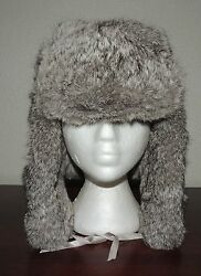 Beautiful Rabbit Fur Bomber Hat with Matching Gloves