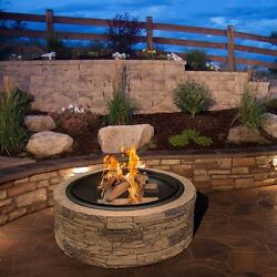 Stone Fire Pit Wood Burning Outdoor Heater Fireplace Patio Cover Modern Round
