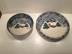After Xmas Sale - Folk Craft Cabin in the Snow Large Plate and Bowl
