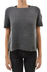 PRADA New Woman Gray Cashmere Short Sleeve Button Back Sweater Jumper Size 40 IT