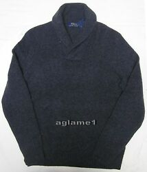 NWT Polo Ralph Lauren cashmere wool shawl sweater  Dark Gray M Italian Yarn