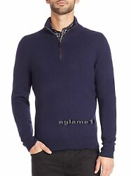 $425 POLO RALPH LAUREN 100% cashmere Italian Yarn  half zip SWEATER S  Navy