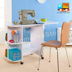 Sewing Machine Table White Mobile Desk Foldable Craft Center Side Storage Shelf