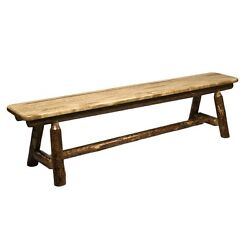 Brown Wood Stained Lacquered 6-ft Dining Bench Garden Decor Kitchen Furniture