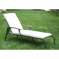 Patio Chaise Lounge Chair Outdoor Furniture Adjustable Recliner Pool wCushion