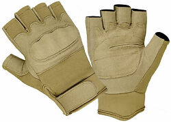 1 2 Finger Military Airsoft Fingerless Tactical Hard Knuckle Shooting Gloves Tan $15.45