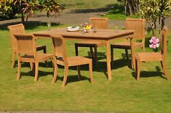 7 PC TEAK DINING SET GARDEN OUTDOOR PATIO FURNITURE POOL GIVA DECK ARMLESS CHAIR