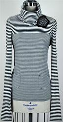 Chanel 05A Striped Top Tunic Shirt Sweater NEW 42 Matching Camellia Brooch