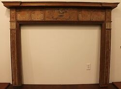 18th Century Adams Fireplace Mantel Carved Wood Basket Urns Floral Swags Etc.