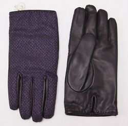 NWT $695 BRIONI Violet Purple Calf Leather and Cashmere Gloves 8.5 (M) + Box