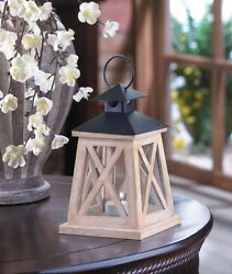 Colonial Height Candle Lantern Antiqued White Wood Frame Iron Black Top