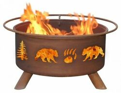 Bear And Tree Fire Pit With Grill And FREE Cover