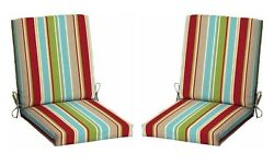 Stripes Patio Cushion Set of 2 Outdoor Chair Replacement Furniture Yard Garden