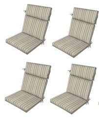 Gray Replacement Patio Cushions Set of 4 Reversible Outdoor Dining Chair Seat Pa