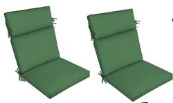 Green Outdoor Seat Cushion Set of 2 Replacement Dining Patio Chair Pad Furniture