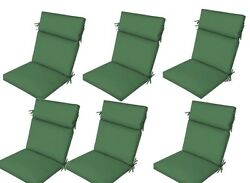 Green Outdoor Seat Cushion Set of 6 Replacement Dining Patio Chair Pad Furnitur
