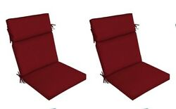 Red Outdoor Seat Cushion Set of 2 Replacement Dining Patio Chair Pad Furniture