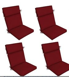 Red Outdoor Seat Cushion Set of 4 Replacement Dining Patio Chair Pad Furniture
