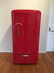 Refurbished Retro Gibson Refrigerator in Fire Engine Red for Man Cave She Shed