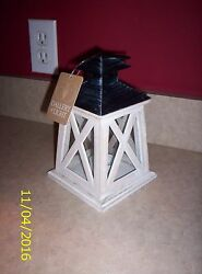 2 Colonial Height Candle Lanterns Antiqued White Wood Frame Iron Black Top