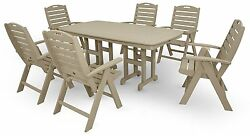 Trex Outdoor Furniture by Polywood 7-Piece Yacht Club Highback Dining Set Sand