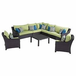 RST Brands Deco 9-Piece Corner Sectional and Club Chair Set with Cushions Green