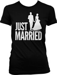 Just Married Husband Wife Bride Groom Wedding Love Party Juniors T shirt $9.88