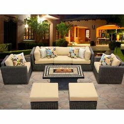 Miseno VENICE-08d-SESAME 8-Piece Outdoor Furniture Set with Propane Fire Pit