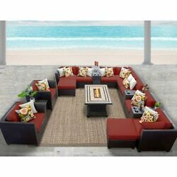 Miseno BARBADOS-17b-TERRACOTTA 17-Piece Outdoor Furniture Set wPropane Fire Pit