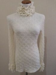 NWT CHANEL CC Buttons Pullover Turtleneck Sweater FR38 US6