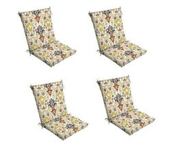 Beige Ikat Patio Chair Cushion Set of 4 Tan Outdoor Dining Replacement Cushions