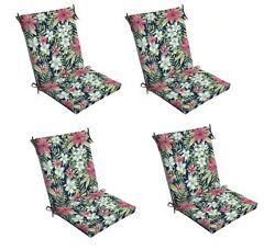 Stripe Floral Chair Cushion Set of 4 Reversable Outdoor Patio Dining Replacement
