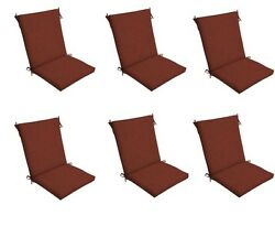 Red Chair Cushion Set of 6 Outdoor Patio Dining Replacement Cushions Seat Pads