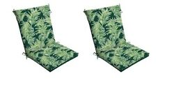 Green Chair Cushion Set of 2 Leaves Outdoor Patio Dining Replacement Cushions Se
