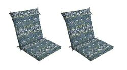 Blue Damask Patio Chair Cushion Set of 2 Outdoor Dining Replacement Cushions Sea