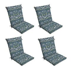Blue Damask Patio Chair Cushion Set of 4 Outdoor Dining Replacement Cushions Sea