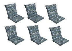 Blue Damask Patio Chair Cushion Set of 6 Outdoor Dining Replacement Cushions Sea