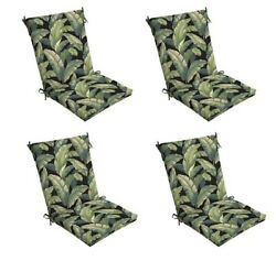 Green Black Chair Cushion Set of 4 Leaves Outdoor Patio Dining Replacement Cushi