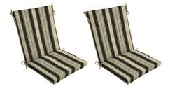 Tan Black Patio Chair Cushion Set of 2 Outdoor Dining Replacement Cushions Seat