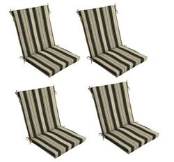 Tan Black Patio Chair Cushion Set of 4 Outdoor Dining Replacement Cushions Seat