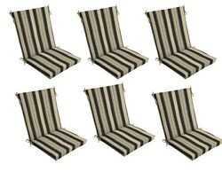 Tan Black Patio Chair Cushion Set of 6 Outdoor Dining Replacement Cushions Seat