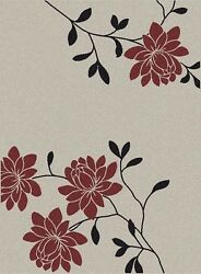 IVORY WHITE OUTDOOR RUG FLORAL RUG 8X11 [7'10
