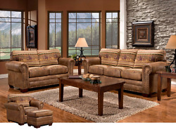 Sofa Sets for Living Room Home Furniture Entertainment Rustic 4 Piece Microfiber