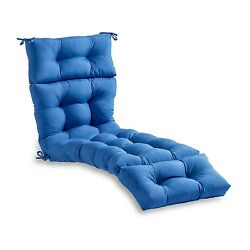 Lounge Chair Cushion Blue Tufted Chaise Padding For Outdoor Patio Pool Recliner