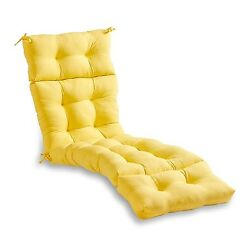 Lounge Chair Cushion Yellow Tufted Chaise Padding Outdoor Patio Pool Recliner
