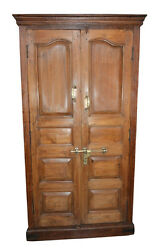 ANTIQUE ANGLO INDIAN CABINET RUSTIC TEAK WOOD ARMOIRE WARDROBE SPANISH STYLE