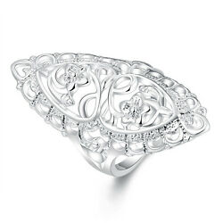 beautiful lovely nice Silver Wedding Flower retro style women Ring jewelry new