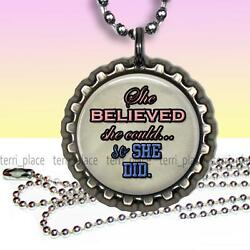 She Believed She Could Inspirational Children's Bottle Cap Necklace